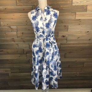 Chetta B pineapple print sleeveless dress Size 4